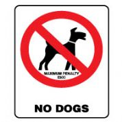 Prohibition safety sign - No Dogs 165